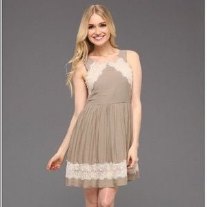 Free People Georgia Lace Dress Brown tan sz 4/6